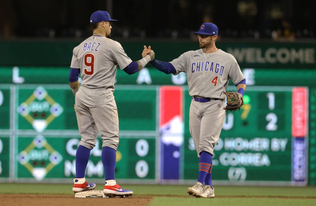 Javier Baez and Eric Sogard of the Chicago Cubs