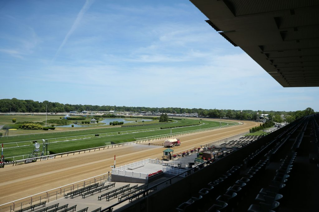 General view as the track gets watered at Belmont Park.