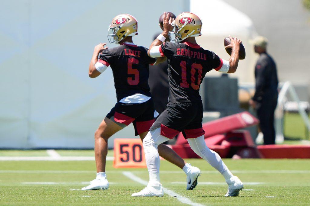 San Francisco 49ers Quarterback's Jimmy Garoppolo and Trey Lance throwing at OTA's