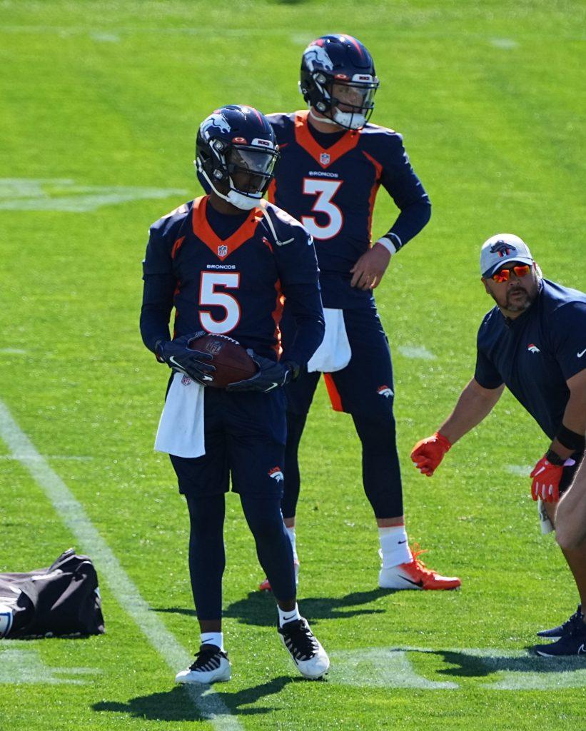 Denver Broncos Quarterback's Teddy Bridgewater and Drew Lock at OTA's