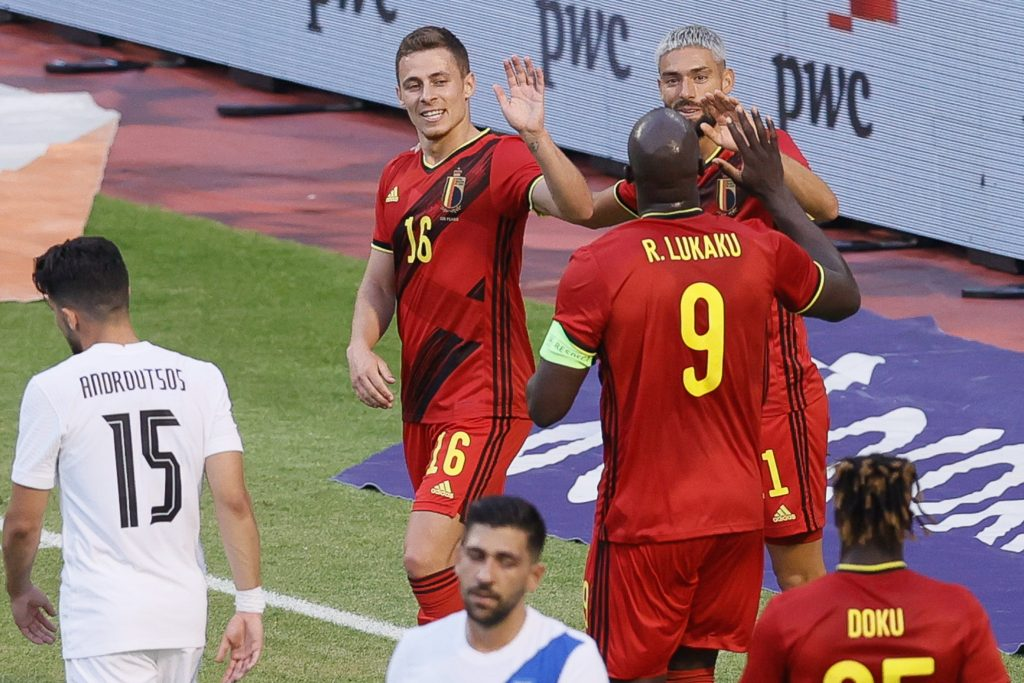 Belgium's Thorgan Hazard celebrates after scoring during a friendly game of the Belgian national soccer team Red Devils and Greece national team, in Brussels, part of the preparation for the Euro 2020 tournament.