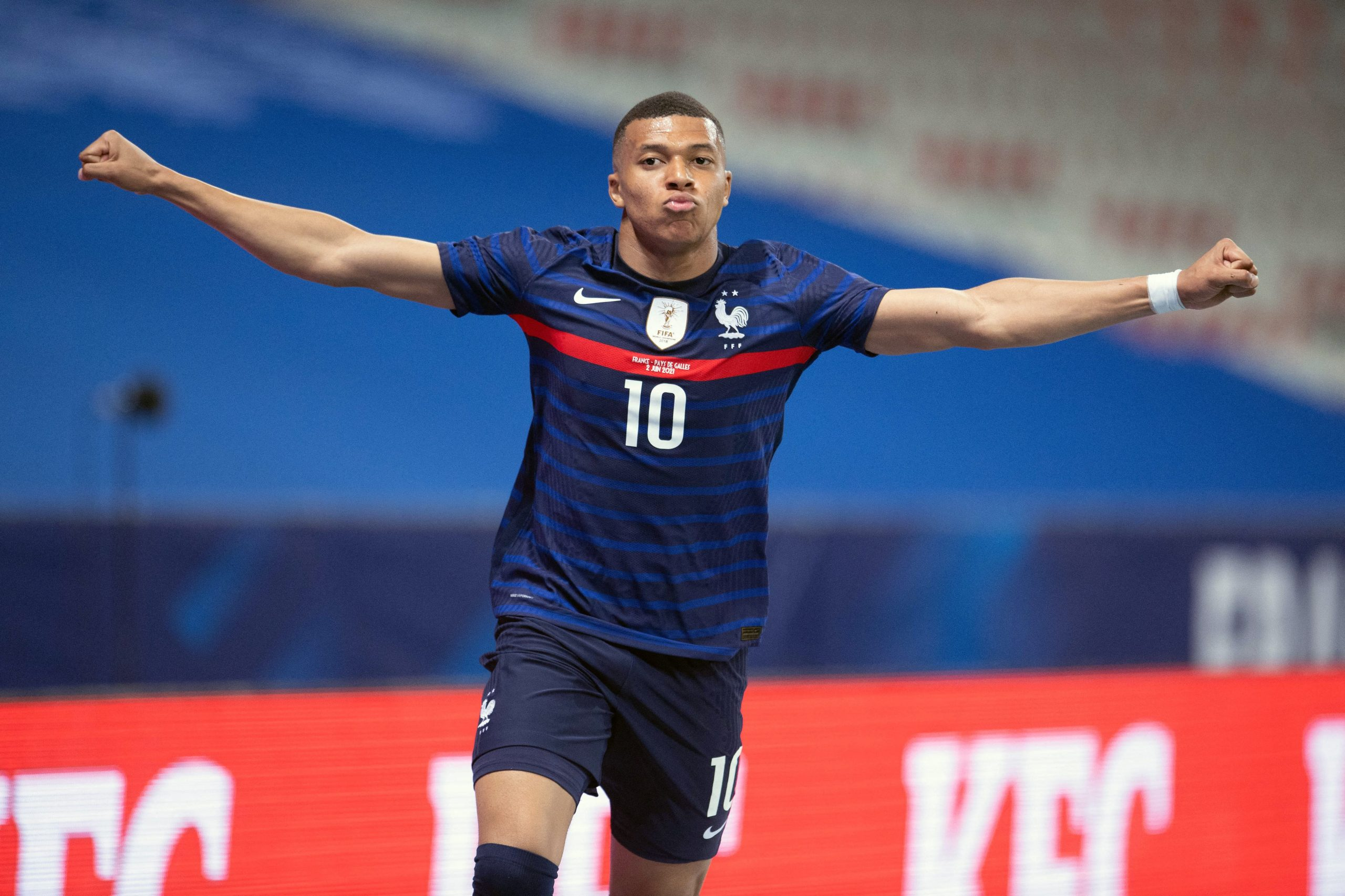 Kylian MBappe of France celebrates his goal during the international friendly match between France and Wales at Allianz Riviera Stadium, on June 2, 2021 in Nice, France.