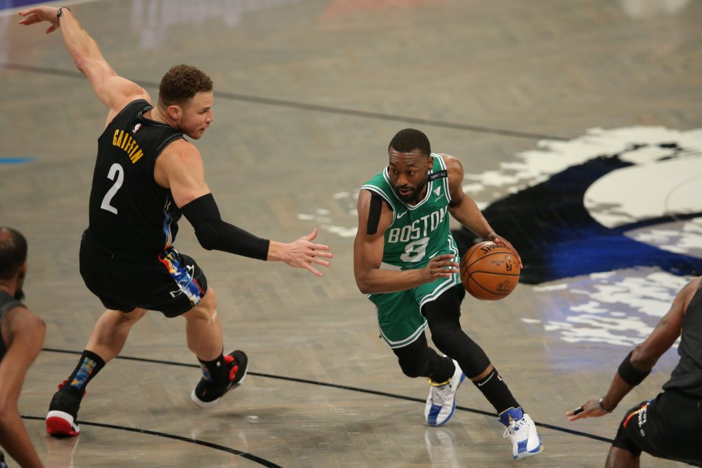 Boston Celtics point guard Kemba Walker (8) drives to the basket against Brooklyn Nets power forward Blake Griffin (2) during the first quarter of game two of the first round of the 2021 NBA Playoffs at Barclays Center.
