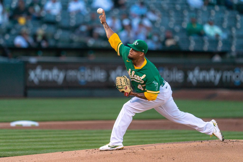 Oakland Athletics starting pitcher Frankie Montas (47) delivers a pitch during the first inning against the Los Angeles Angels at RingCentral Coliseum same game parlay