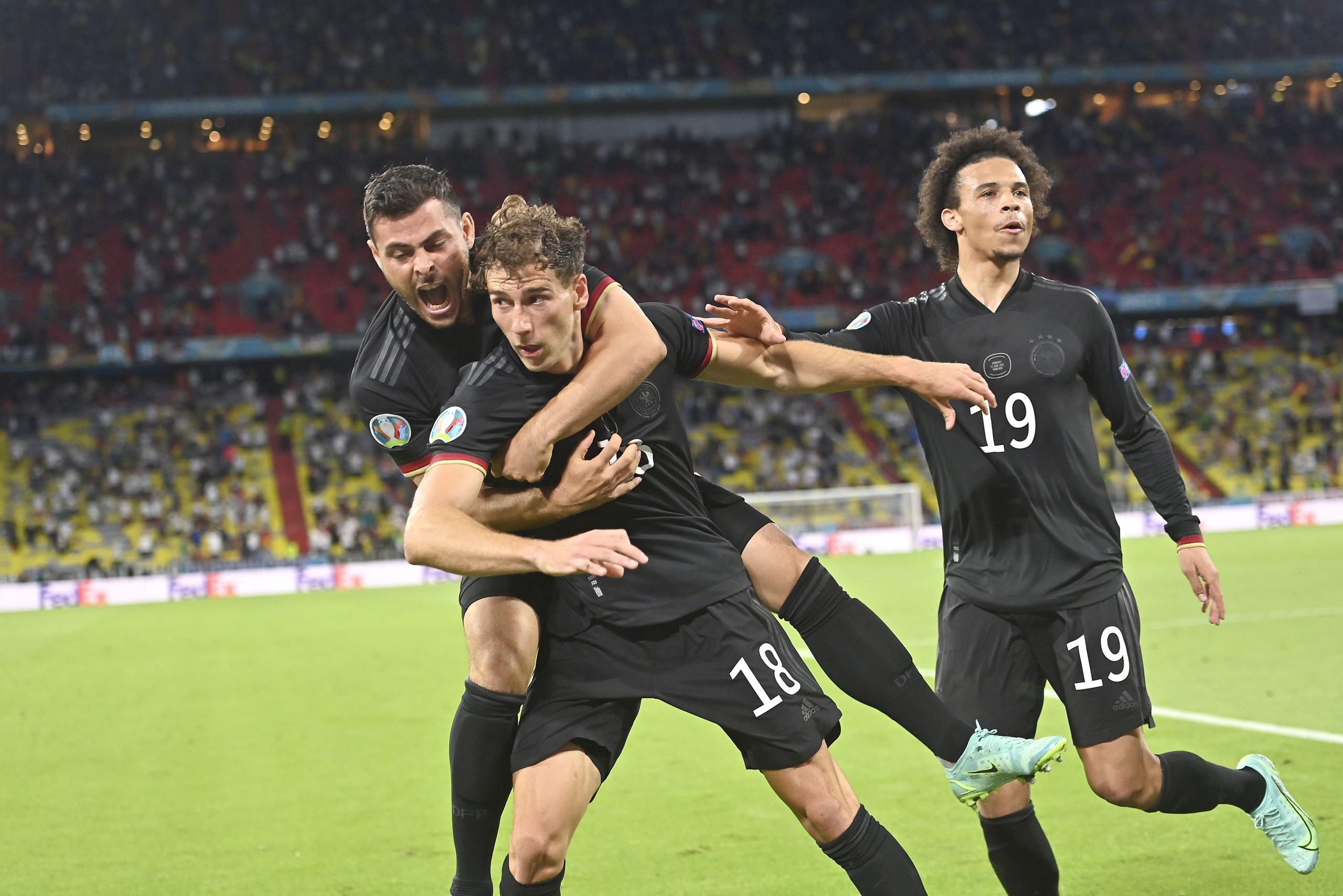 Germany celebrate a goal at Euro 2020 against Hungary
