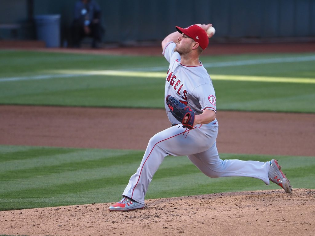Los Angeles Angels starting pitcher Dylan Bundy (37) pitches the ball against the Oakland Athletics during the first inning at RingCentral Coliseum