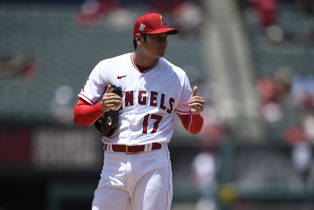 Los Angeles Angels starting pitcher Shohei Ohtani (17) reacts after throwing a strikeout during the second inning against the San Francisco Giants at Angel Stadium