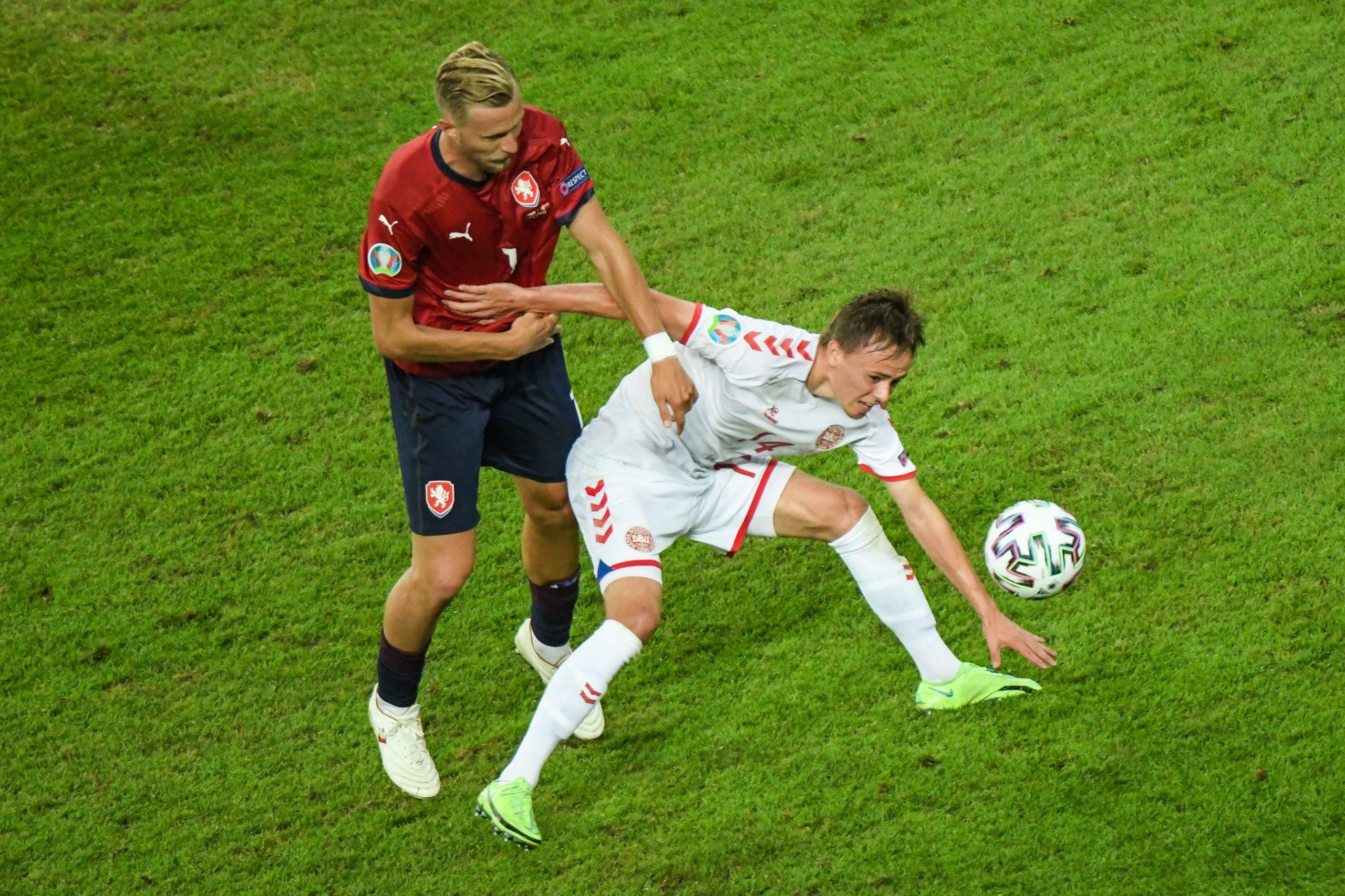 Denmark's Mikkel Damsgaard (right) in action against Czech Republic