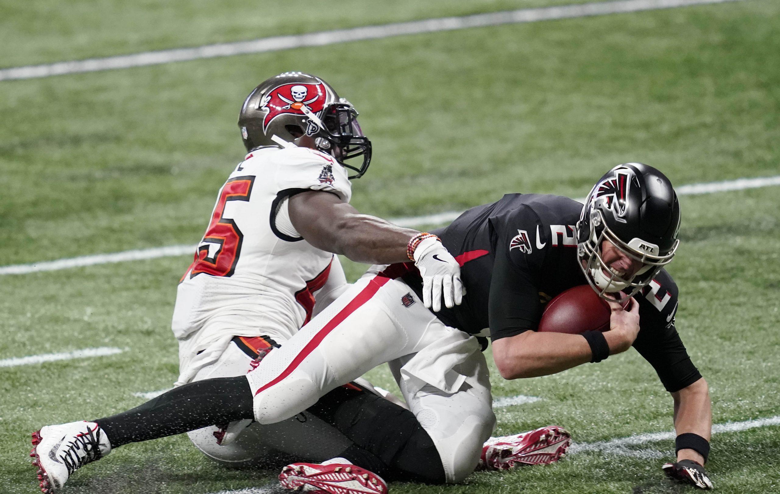 Atlanta Falcons quarterback Matt Ryan is sacked by Tampa Bay