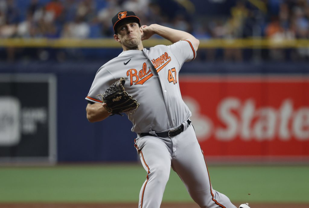 Baltimore Orioles starting pitcher John Means (47) throws a pitch during the first inning against the Tampa Bay Rays at Tropicana Field