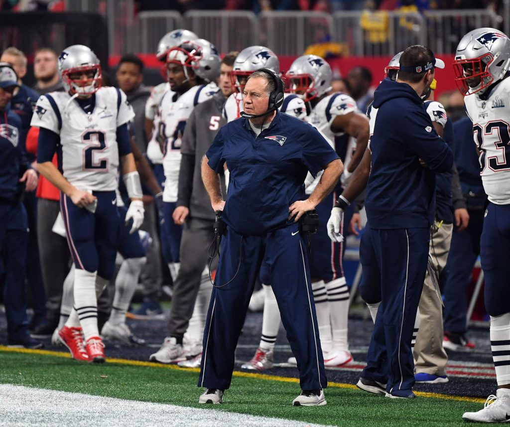 New England Patriots head coach Bill Belichick on the sidelines during the fourth quarter against the Los Angeles Rams in Super Bowl LIII at Mercedes-Benz Stadium.