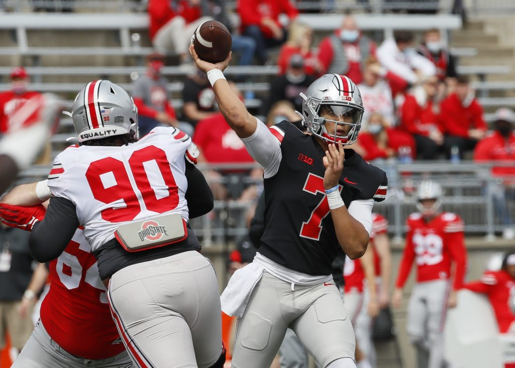 C.J. Stroud (7) throws a pass during the Ohio State Buckeyes football spring game at Ohio Stadium in Columbus on Saturday, April 17, 2021 public money