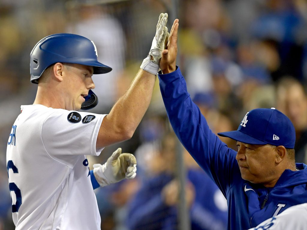 Dodgers' Will Smith and manager Dave Roberts